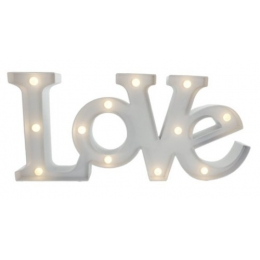 Letreiro Luminoso * Love * A Pilha 20X48Cm- Branco