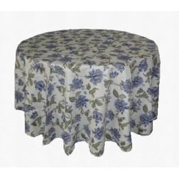 Toalha Redonda 2,50M Floral Roxo Azul Kashmir Jacquard
