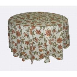 Toalha Redonda 3,00M Floral Laranja Kashmir Jacquard