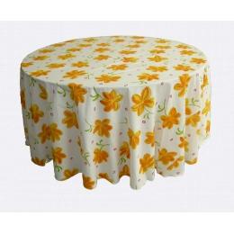 Toalha Redonda 2,80M Floral Amarela Lindoia Algodão