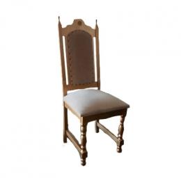 Cadeira Imperial Dourada Estofado Bege