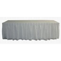 Toalha Pliss Renda Branca P/ Entor De Mesa 3,X90 Cm C/ Forro