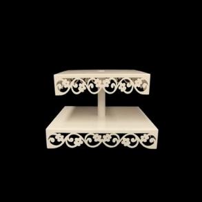 Tripé (Baleiro) Madeira 2 Andares Quadrado Branco