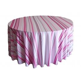 Toalha Redonda 3,00M Listrado Rosa Microfibra