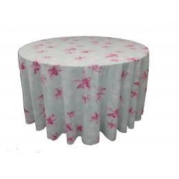 Toalha Redonda 3,00M Floral Rosa Microfibra
