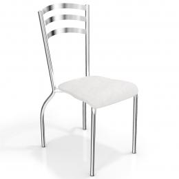 Cadeira Cromada Assento Branco- Portugal