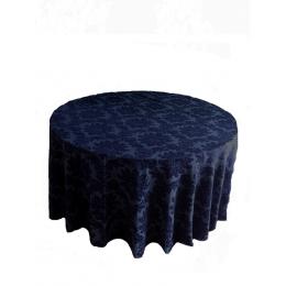 Toalha Redonda 3,20M Brocada Azul Marinho