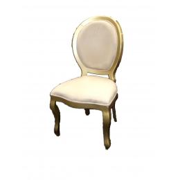 Cadeira Medalhão Sem Braço Dourada Estof Bege (Neutra)
