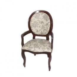Cadeira Medalhão Com Braço Imbuia Floral Bege