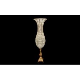Ânfora (Vaso) Pedras Transparentes E Perolas H:0,87M