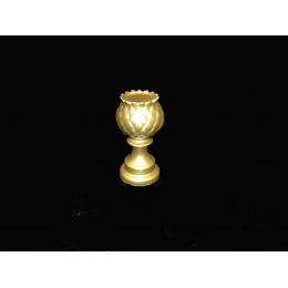 Castiçal Alcachofra Cerâmica Dourada H:22 D:10