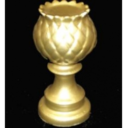 Castiçal Alcachofra Cerâmica Dourada H:27 D:10