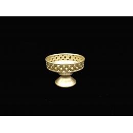 Vaso/ Centro De Mesa Cerâmica Dourada D32 D23Cm