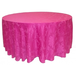 Toalha Redonda 3,00M Brocada Rosa Pink Jacquard