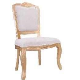 Cadeira S/ Braço Luiz XV Dourada Entalha Bege (Neutra)