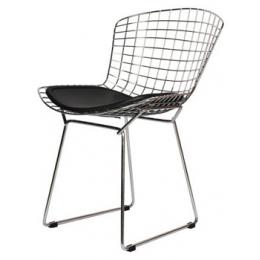 Cadeira Cromada Assento Preto- Bertóia