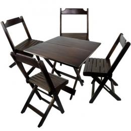 Kit Conj. Madeira Dobrável 1 Mesa e 4 Cadeiras