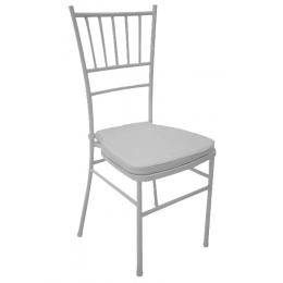 Kit Cadeira Ferro Branca C/ Assento Estof. Branco