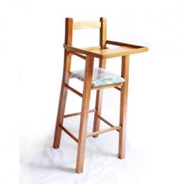 Cadeira De Bebe De Madeira C/ Assento Estofado