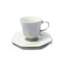 Xicara Chá Oitavada Porcelana Schimidt C/ Pires 200Ml