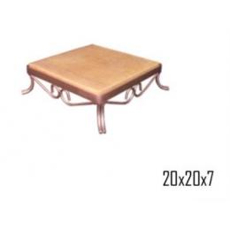 Bandeja Quad. Ferro Rosê Gold C/ Madeira 20x20cm H:7cm